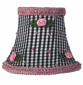 black check pink rosebud chandelier shade