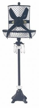 black crystal dangle lamp-large black dot hat shade