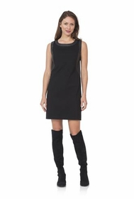 black ponte dress with pu leather side details