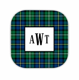 black watch plaid hardback rounded coaster<br>(set of 4)