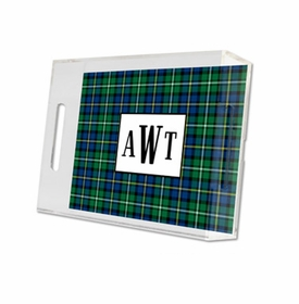 black watch plaid lucite tray - small