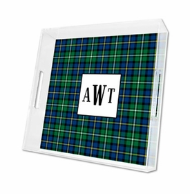 black watch plaid lucite tray - square