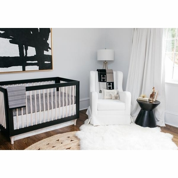 oilo crib bedding - black & white crib bedding set