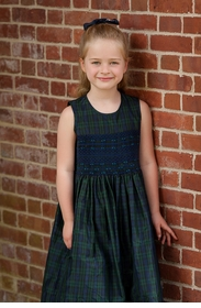blackwatch plaid silk girls dress