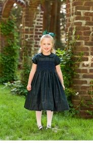 blackwatch plaid silk little girls party dress