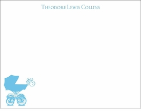 blue baby buggy children's stationary