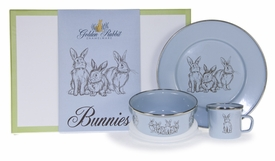 blue bunny dish keepsake set and box (plate, mug, & bowl)
