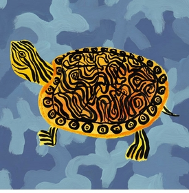 blue camo turtle wall art