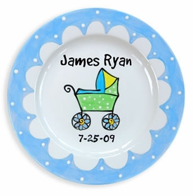 blue carriage baby plate