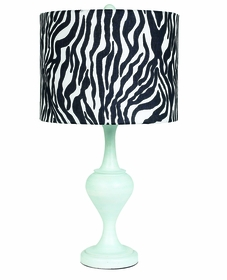blue curvature base lamp with zebra print shade