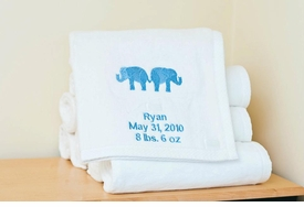 blue elephant fluffy blanket - blue