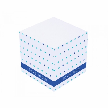 blue love mom sticky note cube