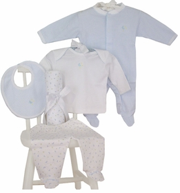 blue moon and star layette set