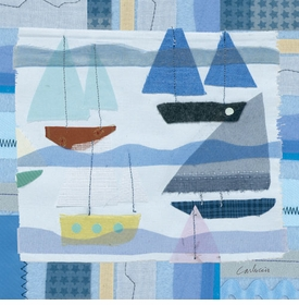 blue sailboats wall art by maria carluccio