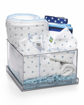 blue stars layette gift basket
