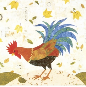 blue tail rooster wall art