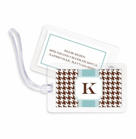 boatman geller alex houndstooth chocolate bag tags