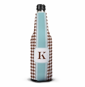 boatman geller alex houndstooth chocolate bottle koozie
