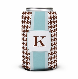 boatman geller alex houndstooth chocolate can koozie
