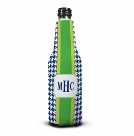 boatman geller alex houndstooth navy bottle koozie