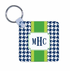 boatman geller alex houndstooth navy key chain