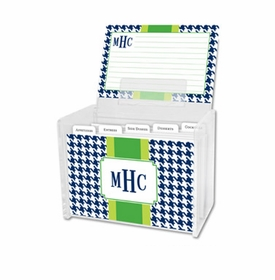 boatman geller alex houndstooth navy recipe box
