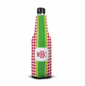 boatman geller alex houndstooth red bottle koozie