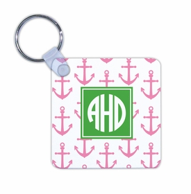 boatman geller anchors pink key chain