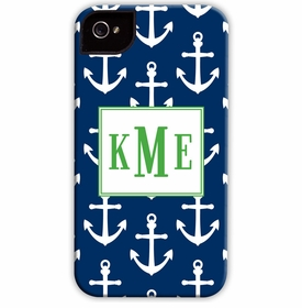 boatman geller anchors white on navy cell phone case