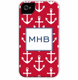 boatman geller anchors white on red cell phone case