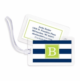 boatman geller awning stripe navy bag tags