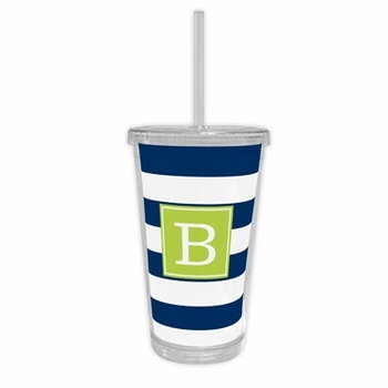 boatman geller awning stripe navy beverage tumbler