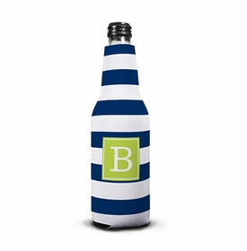 boatman geller awning stripe navy bottle koozie