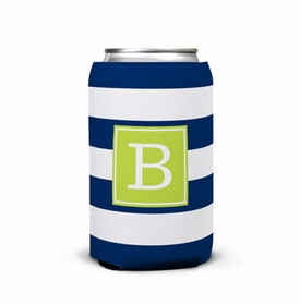 boatman geller awning stripe navy can koozie
