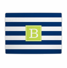 boatman geller awning stripe navy cutting board