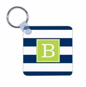 boatman geller awning stripe navy key chain