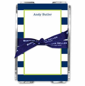 boatman geller awning stripe navy note sheets in acrylic note sheets