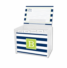boatman geller awning stripe navy recipe box
