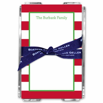 boatman geller awning stripe red acrylic note sheets