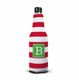 boatman geller awning stripe red bottle koozie