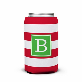 boatman geller awning stripe red can koozie