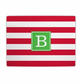 boatman geller awning stripe red cutting board