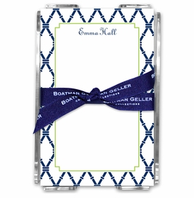 boatman geller bamboo navy & green acrylic note sheets