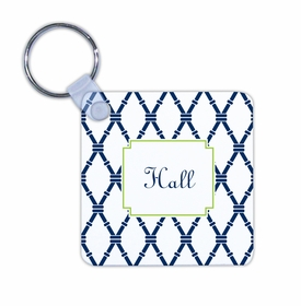 boatman geller bamboo navy & green key chain