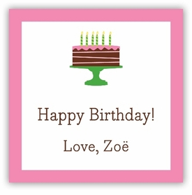 boatman geller birthday cake pink square sticker