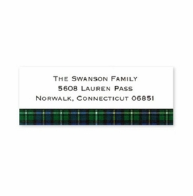 boatman geller black watch plaid address labels