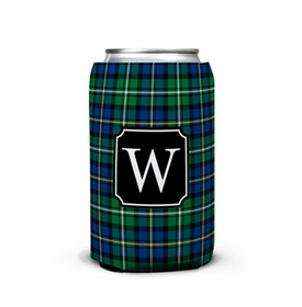 boatman geller black watch plaid can koozie
