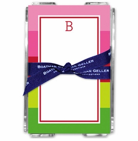 boatman geller bold stripe pink & green acrylic note sheets