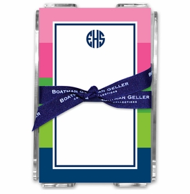 boatman geller bold stripe pink, green & navy acrylic note sheets