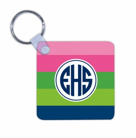 boatman geller bold stripe pink, green & navy key chain